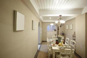 interiores de casa, sala de jantar em estilo pastoral foto
