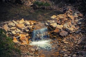 cachoeira criada artificialmente com ervas perto dos cárpatos foto