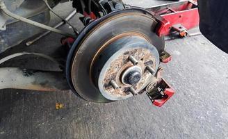 close-up dos freios a disco do carro