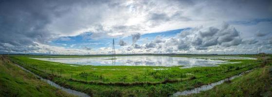 foto panorâmica de um campo inundado