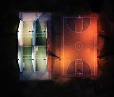fotografia com visão de alto ângulo da quadra de basquete
