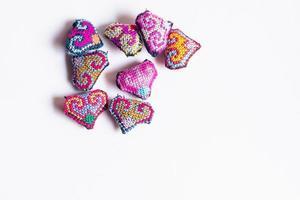 adoráveis corações de crochê foto