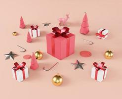 maquete de natal da caixa de presente do quadrado branco e vermelho