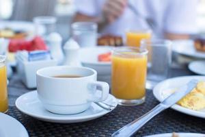 café e suco de laranja