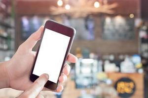 maquete de smartphone em um restaurante foto