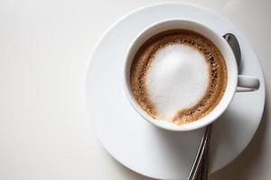 vista superior de um cappuccino foto