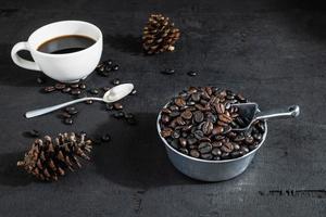 café e grãos de café foto