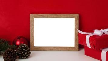 maquete de moldura de madeira em branco