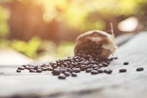 grãos de café em um saco foto