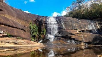 cachoeiras que fluem de altas camadas de rocha