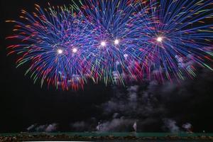 lapso de tempo de uma exibição de fogos de artifício