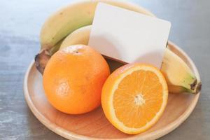 cartão de visita em frutas