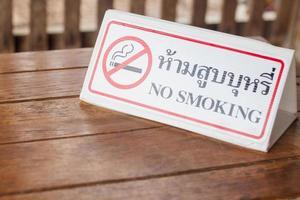 placa de proibido fumar em uma cafeteria