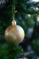 close-up de uma bola dourada foto