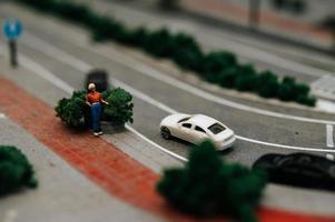 close-up do tráfego de mudança de inclinação foto