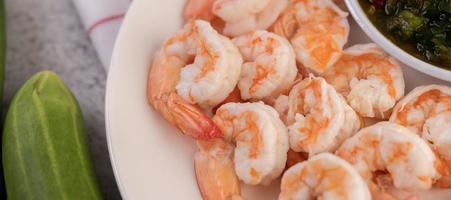 close-up de camarões foto