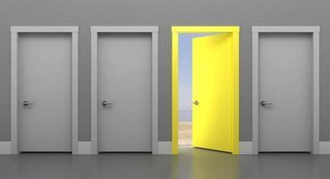 porta amarela aberta