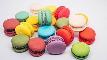 biscoitos macaron vibrantes foto