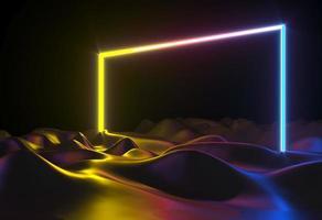 Ilustração 3d formas abstratas de néon foto