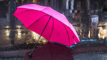 guarda-chuva rosa depois de uma chuva