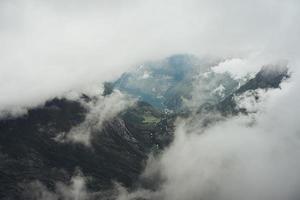 montanhas e árvores nebulosas foto