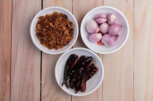 Refogue as cebolas, pimentas secas e cebolas vermelhas