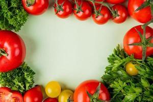 vista superior de vegetais como coentro e tomate em fundo branco com espaço de cópia foto