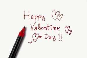 frase do dia dos namorados feita com um marcador vermelho sobre um fundo branco. conceito de st. Dia dos namorados