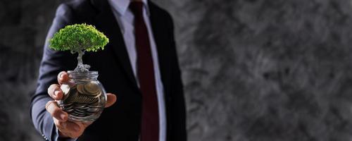 empresário segurando um pote de moedas com uma pequena árvore crescendo foto