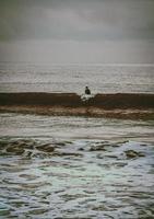 pessoa de camisa branca sentada na areia marrom perto do corpo d'água durante o dia