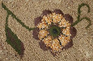 decoração de flores feita de sementes foto