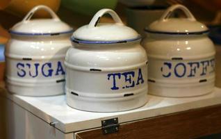café açúcar chá lata