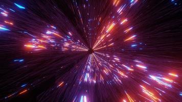 linhas de néon brilhantes túnel espacial ilustração 3d, design, arte, fundo, papel de parede foto