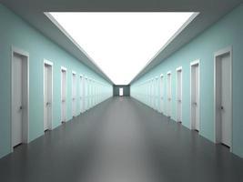 intermináveis corredores do prédio