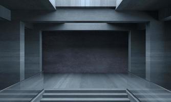 ilustração 3D da grande sala de concreto