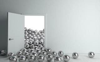 Ilustração 3D de bolas de metal entrando em uma porta