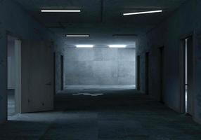 Renderização 3D de um corredor escuro