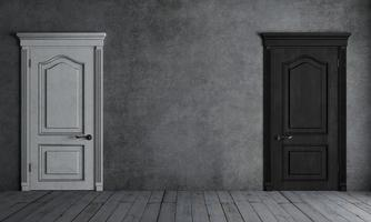 portas pretas e brancas em uma sala cinza foto