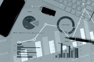 gráficos e papéis de negócios