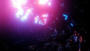 Luzes de néon em movimento brilhante vermelho e azul buraco do túnel ilustração 3d, arte, design, fundo, papel de parede