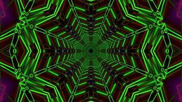 radar verde estrela de néon colorida ilustração 3d vj loop
