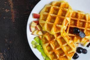 vista superior de waffles foto