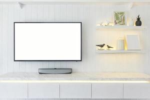 maquete de tv com interior branco
