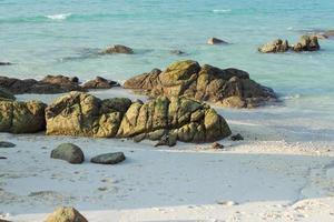 pedras na água na praia foto