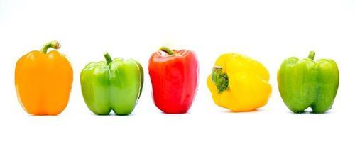 pimentões coloridos em fundo branco foto