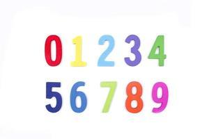 números de madeira coloridos em fundo branco foto