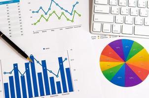 gráficos de negócios e caneta