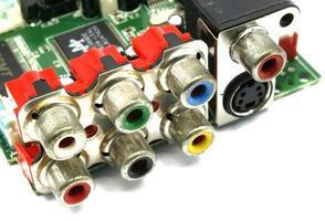 conectores de entrada e saída em branco foto