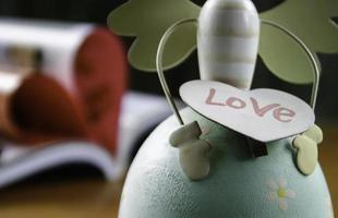 placa de amor de madeira