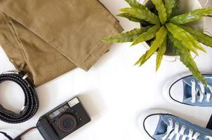 acessórios de viagem e câmera